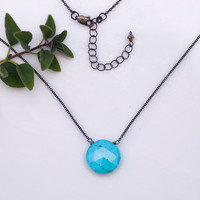Turquoise necklace - Oxidized Silver Necklace - Gemstone necklace - December Birthstone necklace