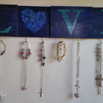 LOVE Necklace Jewelry Organizer / Blue Love Wall Sign / Purse and Key Holder