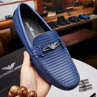 EMPORIO ARMANI 2018 new high-end luxury men's wear-resistant non-slip outsole peas shoes blue