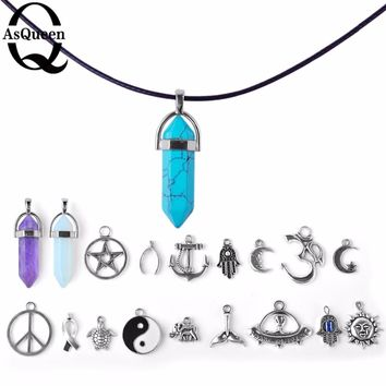 Crystal Wishbone Moon Sun Elephant Tortoise Om Pendant Necklace Mix For Women Girl Gift