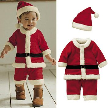 2017 New Arrived Good Quality Winter Warm Christmas Santa Claus Costume Christmas Party Cosplay Clothes Christmas Gift For Kids