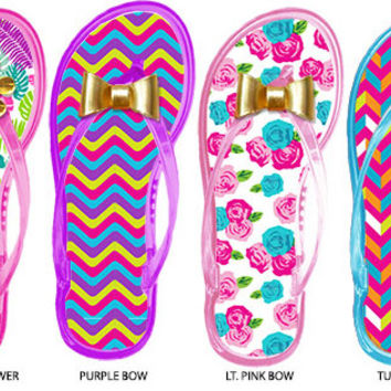 girls printed jelly flip flops with embellishments Case of 72
