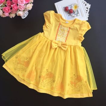 Retail 2018 summer girls Baby cotton princess Belle Dress Beauty and the Beast dresses costume kids dresses Childrens customes