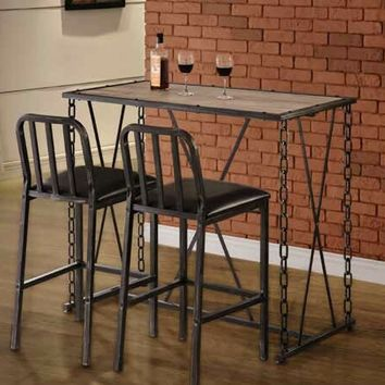 3 pc set Industrial styles collection black finish metal frame and natural brown rustic top bar table and stools