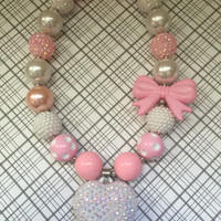 Girls Jewelry/Necklace/Heart/Bow/Pink/Toddler/Baby/Chunky Necklace/Bubble Gum Beads/Gift Giving/Christmas Gift