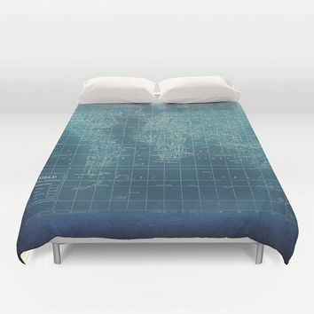 Teal World Map Duvet Cover - comforter - bed - grunge look - vintage feel -bedroom, travel decor, cozy soft, warm, indudtrial chic