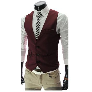 New Arrival Mens' Dress Vests Slim Fit Men Suit Vest Male Waistcoat Gilet Homme Casual Sleeveless Formal Business Wedding Jacket