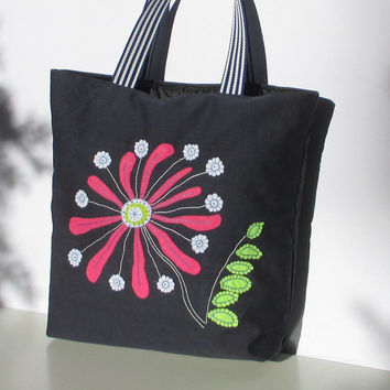 Denim tote handbag, handmade, unique,artistic colorful funky shopper/everyday/carry all/stylish/ecofriendly