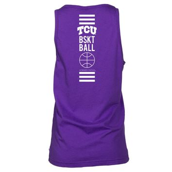 Official NCAA Texas Christian University Horned Frogs TCU Horned Frog FROGS FIGHT Women's Boyfriend Fit Tonal Pocket Sleeveless Durable Soft O-Neck  Premium Tank Top