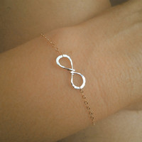 Cyber Monday,Two tone Infinity charm Bracelet or Anklet in Gold and Silver,Tiny,Friendship,Bangle,delicate chain,Relationship