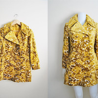 Golden Lilly - Vintage 1960s Gold Yellow Brocade Tapestry Peacoat Coat Jacket
