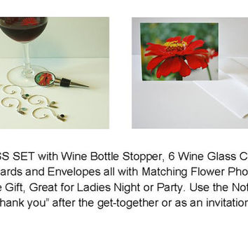 HOSTESS SET, Wine Bottle Stopper, Wine Glass Charms, Note Card Set of 6, Unique Gift, Photograph, Home Decor, Fun, Ladies Night, Hostess