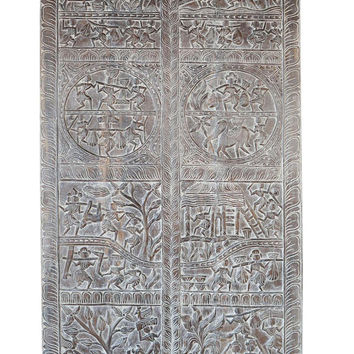 Vintage Tribal Folk Art Barn Door Hand carved Village Scene Doors Wall Panel India Meditation Yoga Decor