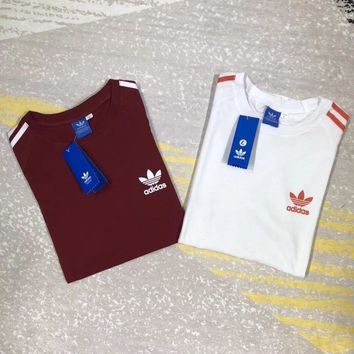 """Adidas"" Unisex Retro Simple Casual Logo Print Stripe Short Sleeve Couple T-shirt Top Tee"
