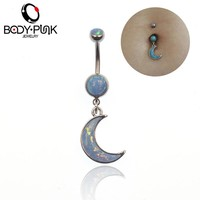 BODY PUNK Opal Moon Dangle Navel Helix Piercing Ring Body Jewelry Feminino 316L Surgical Steel Crystal Belly Button Ring grillz