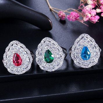 Cubic Zircon Sterling silver luxury jewelry set