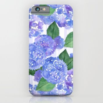 Hydrangeas and Stripes iPhone & iPod Case by Noonday Design