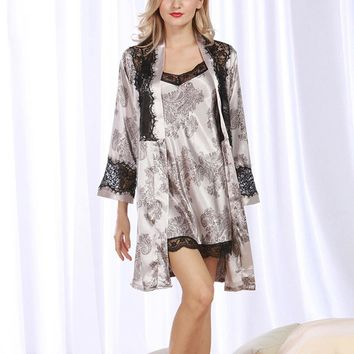 Hot Sale Women Kimono Robe Sets Long Sleeve Sleepwear Floral Bathrobes Sets Night Robe Gown Dress Ladies Nightgown