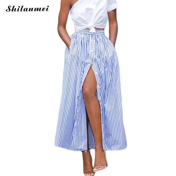2017 Korean Fashion Women Casual long african skirt 2017 Summer Vertical Striped Single Breasted long Ankle Length Skirt saia
