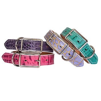 Classic Leather Dog Collar Handmade in 31 Colors, Green Croc Lilac Croc Lavender Croc Rose Croc