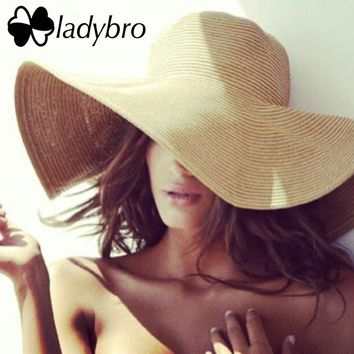 Ladybro Brand Wide Brim Floppy Straw Sun Hat Beach Women Hat Foldable  Summer UV Protect Travel d31f8fc1a35