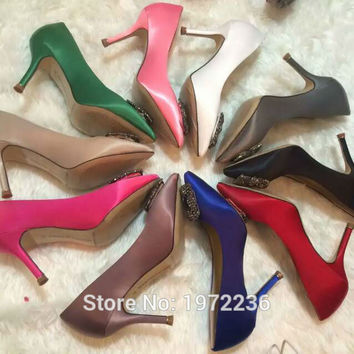 Hot 2016 Luxury Brand Women Satin Rhinestone Wedding Shoes High Heels Pointed Toe Pumps Woman Shoes 10 Color 9cm high heels 41
