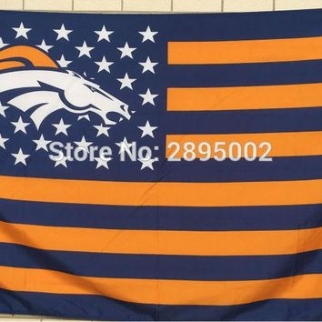 Denver Broncos Classic USA Stripes Banner Flag Polyester grommets 3' x 5' Custom metal holes Hockey Baseball Football Flag