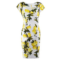 Women summer dress Sexy Vintage Style Lemon Printed Bodycon Slim Party Short Sleeve Pencil office Dress vestido