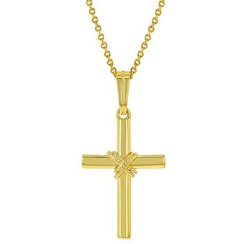 18k Gold Plated Knot Classic Cross Necklace Religious Pendant 19""