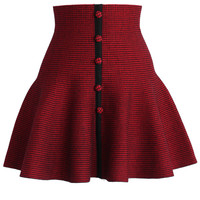 Buttons Up Knitted Skater Skirt in Red Red S/M