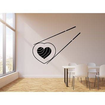 Vinyl Wall Decal Sushi Love Japanese Food Restaurant Cuisine Stickers Mural (g399)