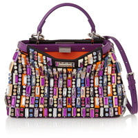 Fendi - Peekaboo mini embellished satin and leather shoulder bag