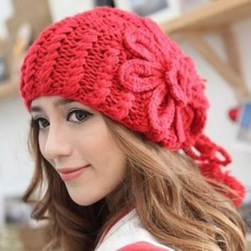 CREYU3C Autumn and winter warm beanie hats coarse knitted hat whith big flower women's Skull Knit Cap Hats Knitted