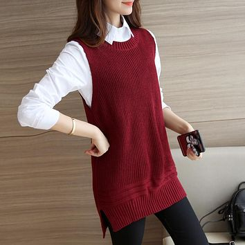 Women's Autumn 2016 New Style Loose Knitted Vest O-neck Solid Sleeveless Sweaters and Pullovers Cashmere Sweater For Girl