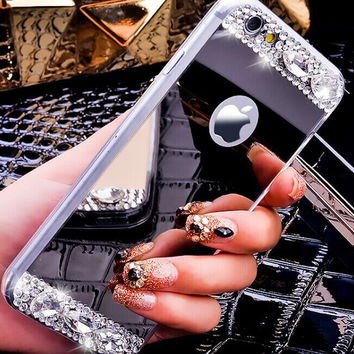 5s Mirror Luxury Glitter Diamond Rhinestone TPU Case for iPhone 5 5 s se Soft Silicone Thin Protective Back Cover for iphon 5 5s