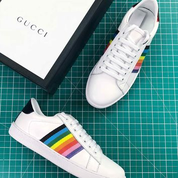 Gucci Ace Embroidered Low Top Sneaker White Multicolor - Best Online Sale