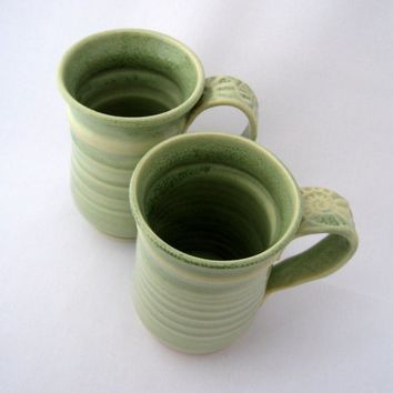 Espresso cups,2 stoneware teacups,2 pottery cups,two pottery mugs,espresso mug,small cup handle,pair of cups,ceramic mugs,green mugs cups