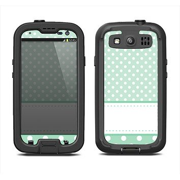 The Vintage Light Green Polka Dot With White Strip Samsung Galaxy S3 LifeProof Fre Case Skin Set