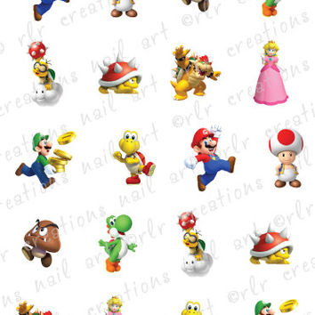 20 Nail Decals  MARIO BROTHERS Characters by RLRCreationsNailArt