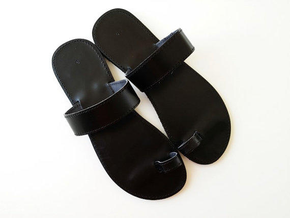 cd42063b768254 Men Leather Sandals - Greek Black Toering Sandals - Men Handmade Black  Sandals - For him