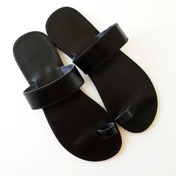 Men Leather Sandals - Greek Black Toering Sandals - Men Handmade Black Sandals - For him