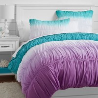 Surf Dip Dye Ruched Duvet, Pool/ Purple