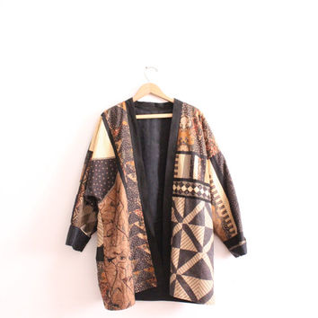 Quilted Batik Pattern Loose Jacket