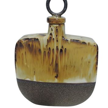 Strikingly Punctuated Ceramic Covered Bottle, Gray And Brown