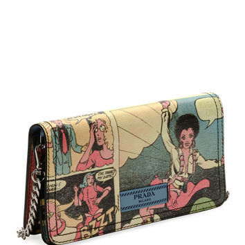 Prada Vintage Comic-Print Wallet-on-Chain