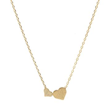 Handcrafted Brushed Metal Two Heart Necklace