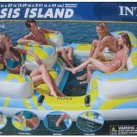 INTEX Oasis Island Inflatable Lake & River Seated Floating Water Lounge Raft