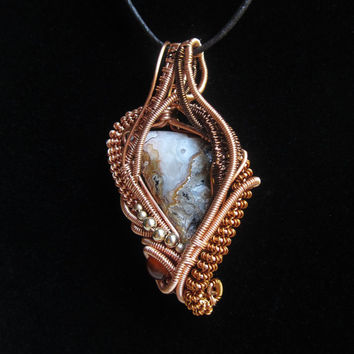 Wire Wrap Pendant with Copper and Crazy Lace Agate