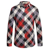 ONETOW BURBERRY  Men's Casual Stripes Plaid Long Sleeved Shirt G-A00FS-GJ