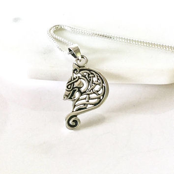 Dragon Necklace Sterling Silver Dragon Celtic Pendant Celtic Necklace Viking Celtic Knot Large Charm Silver 925